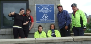 Brigid (3rd from left) with her cycling team mates at the end of the Coast to Coast