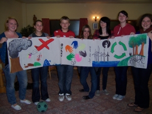 The IMPACT Youth Group in Preston with their Climate Justice banner
