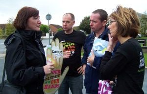 Geraldine Smith MP in conversation with Patrick, Mark and Rosa