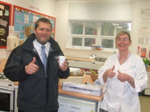 Headteacher Mr Grice and Food Technolgy teacher Mrs McDermid give the soup the thumbs up!