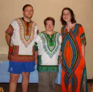 C,L  &H in African clothes a