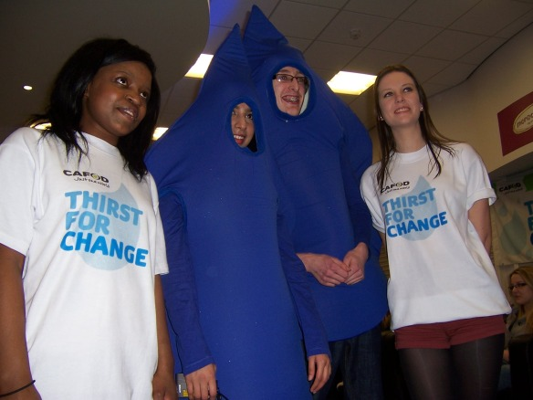 Gertrude and Tahlia on the campaign trail with the two water droplets. Later they were modelling Fairtrade fashion