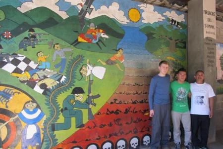 The mural of the massacre of  Rio Sumpul with Nicolas and Jaime