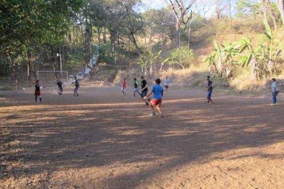 James playing football with the young men of Arcatao (yes, he's definitely there!)