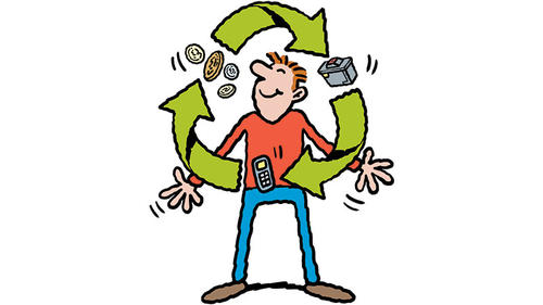 Trash-for-cash-Juggling-man-banner-recycling-phones-old-currency-old-cars_layout-large