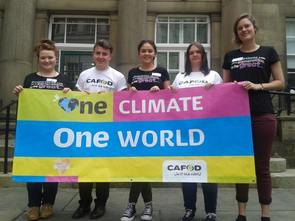 Here's Kieron with Bernie, and with Hannah, Leila and Steph (gappers from Salford Diocese) at CAFOD's launch of the One Climate One World Campaign in Manchester
