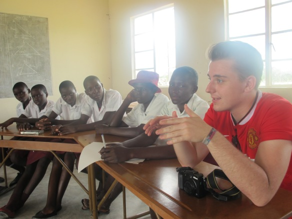 Kieron in school in Zim