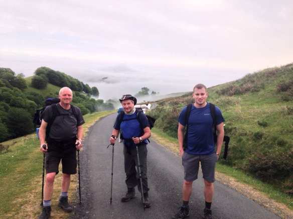 Hugh, Dermot and John on a very cloudy day two of the Camino