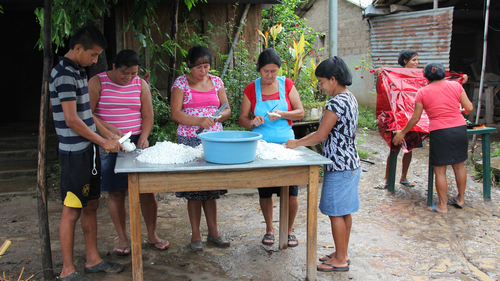 A coconut sweet-making cooperative, a small business project in Puentecitos, part of CAFOD's Connect2 El Salvador programme.