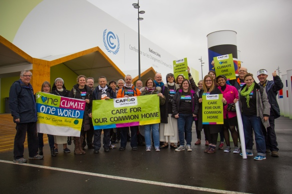 100 - CAFOD supporters outside the climate change meeting of world leaders in Paris (Liam Finn, CAFOD)