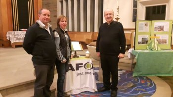 Paul with his wife, Lynne, and Fr Peter Sayer at St Bernadette's Catholic Church in Lancaster