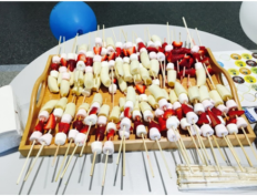 skewers of marshmellows, strawberries and banana